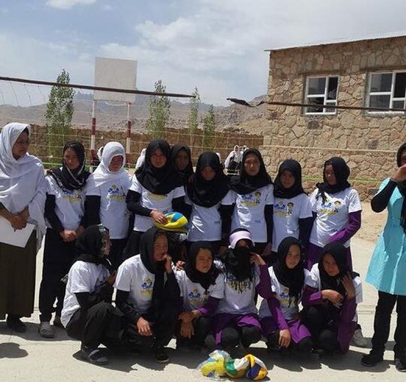 Girls volleyball team in Ghazni
