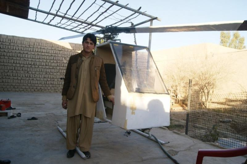 Young inventor Ghulam Ishaq Noori with his low cost Helicopter