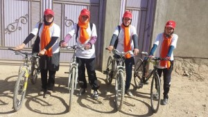 A group of girls do cycling in Bamiyan