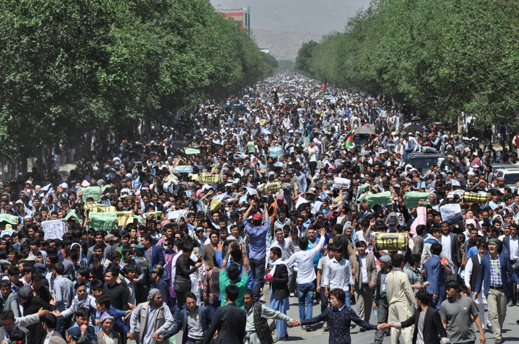 LIVE: Protesters gather in Kabul demanding #TUTAP lines be routed through Bamyan
